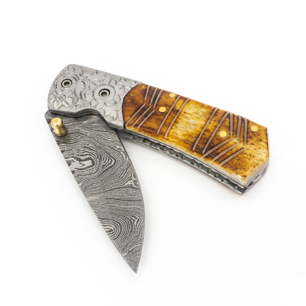 Damascus Steel Carved Folding Knife