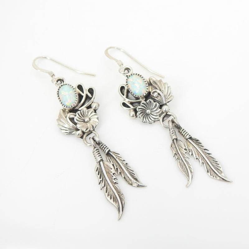 Sterling Silver Created Opal Native American Feather Earrings