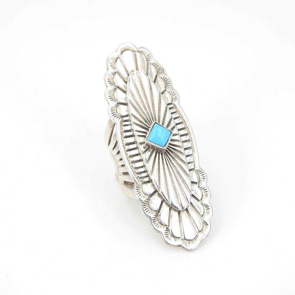 Sterling Silver Navajo Ring w/ Turquoise Center SZ 7
