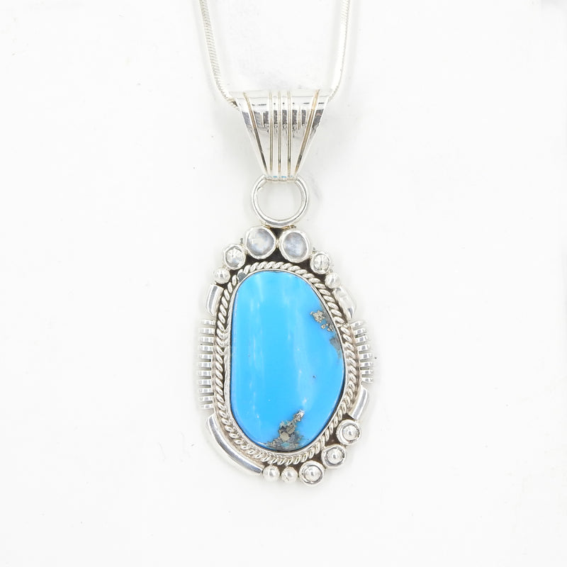 Sterling Silver Southwestern Native American Turquoise Pendant