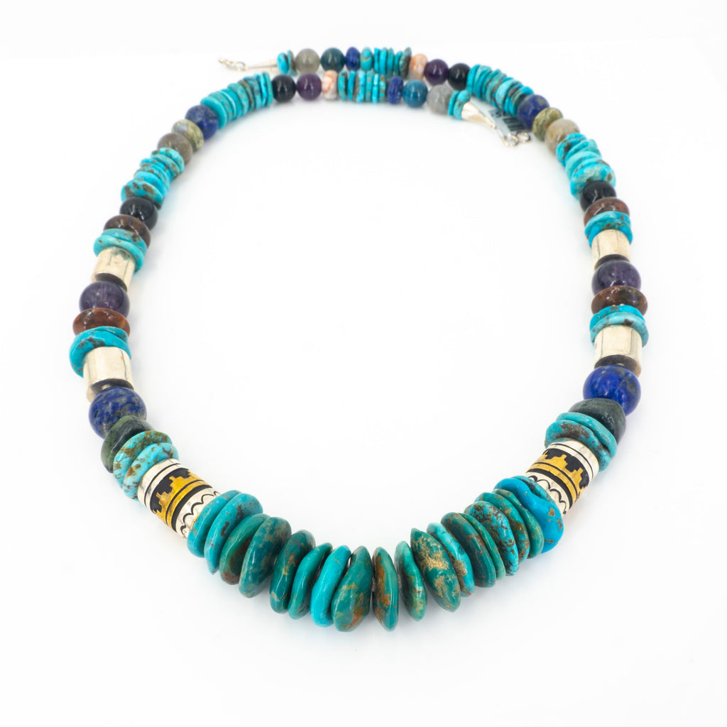 S/S Turquoise Lapis Amethyst Necklace
