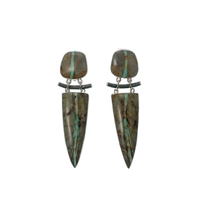 Ribbon Turquoise Clip-On Earrings