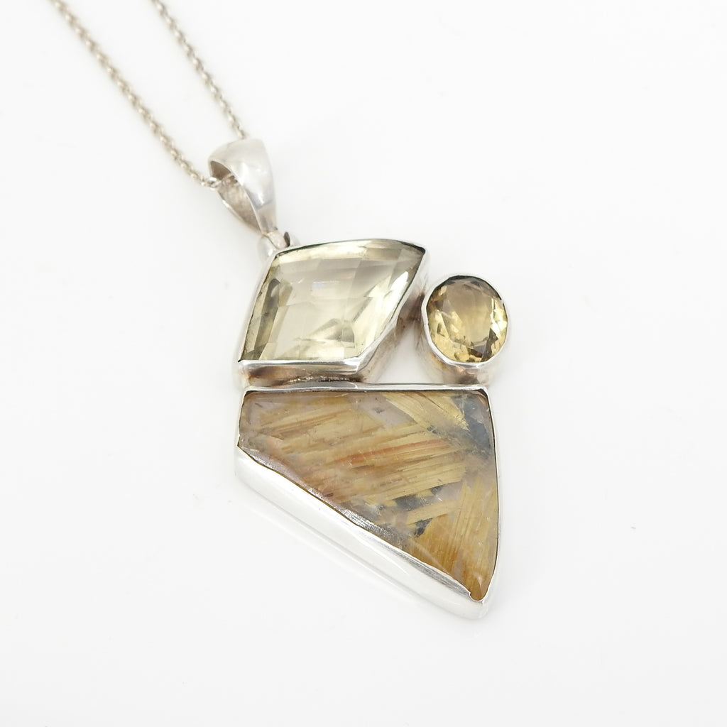 S/S Rutilated QTZ Citrine Pendant