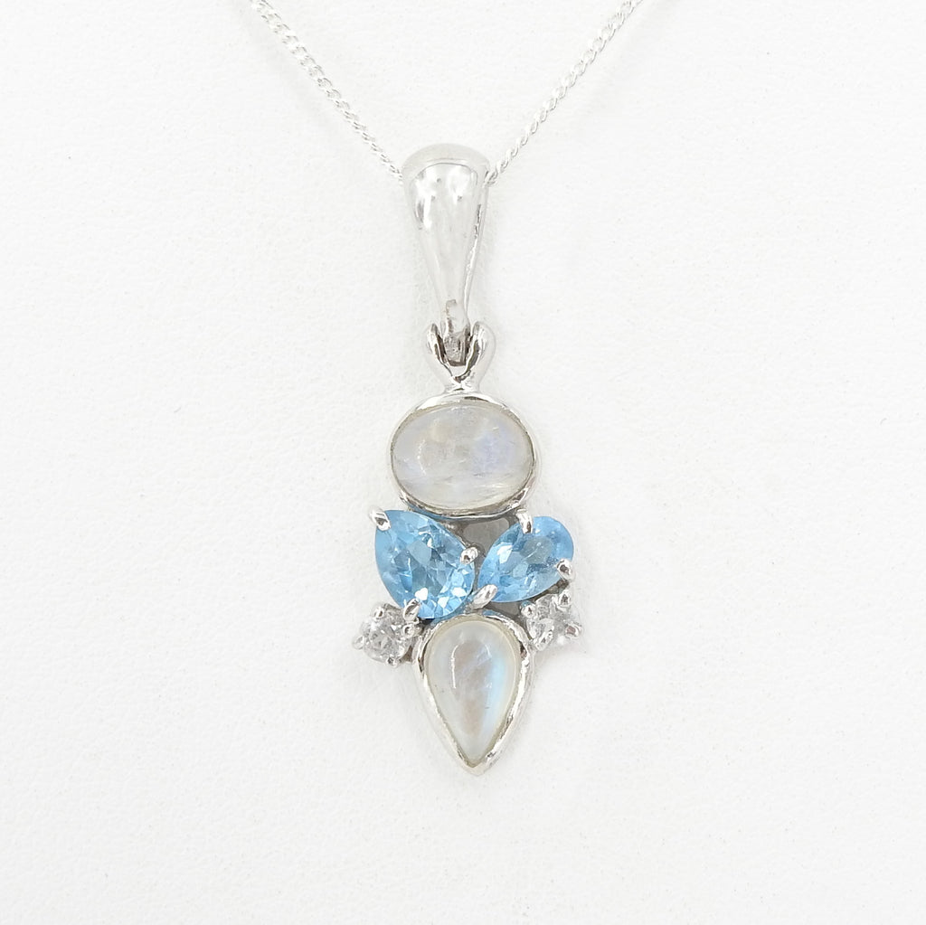 Sterling Silver Blue Topaz Rainbow Moonstone Pendant