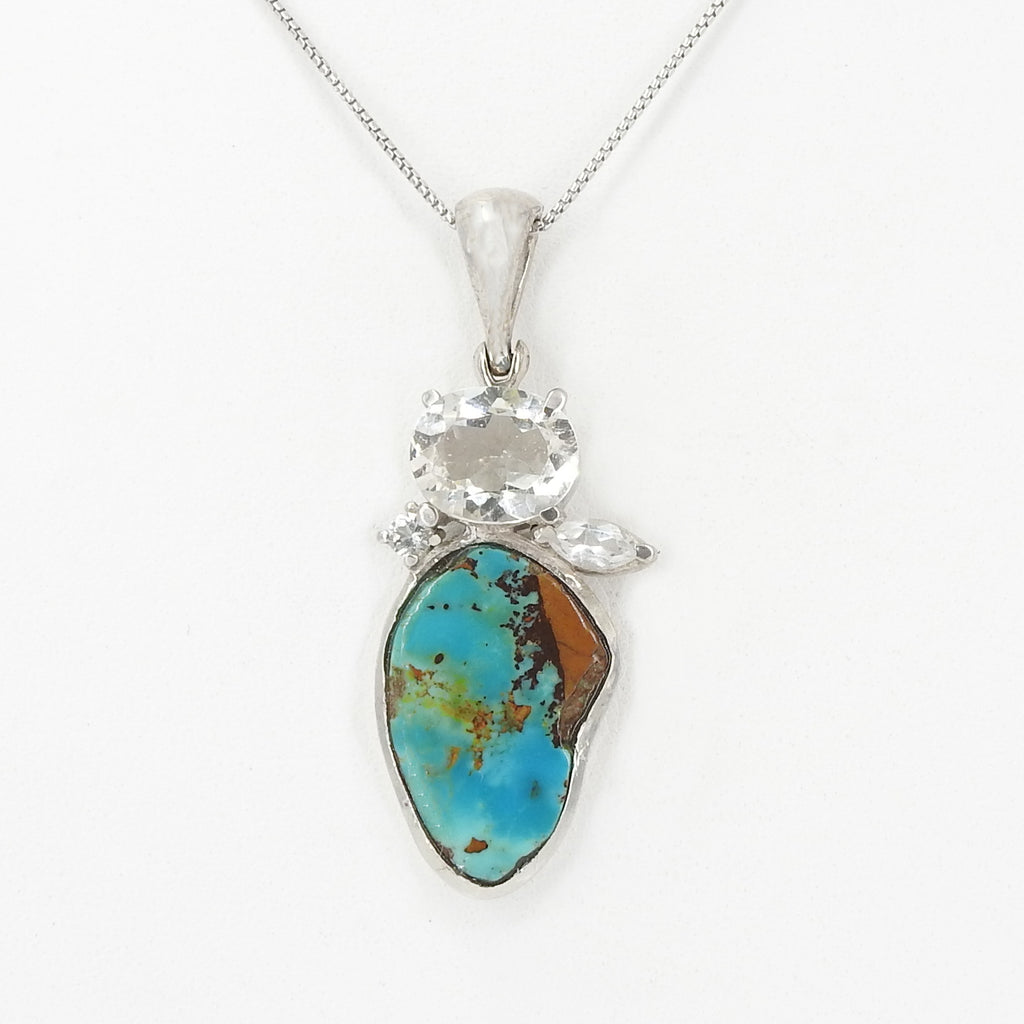 Sterling Silver Turquoise & White Topaz Pendant