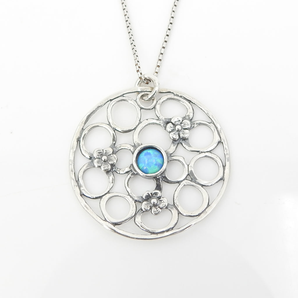 Sterling Silver Opal and Flower Pendant