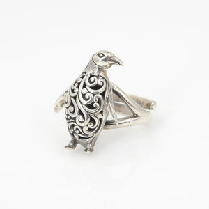Sterling Silver Penguin Adjustable Ring