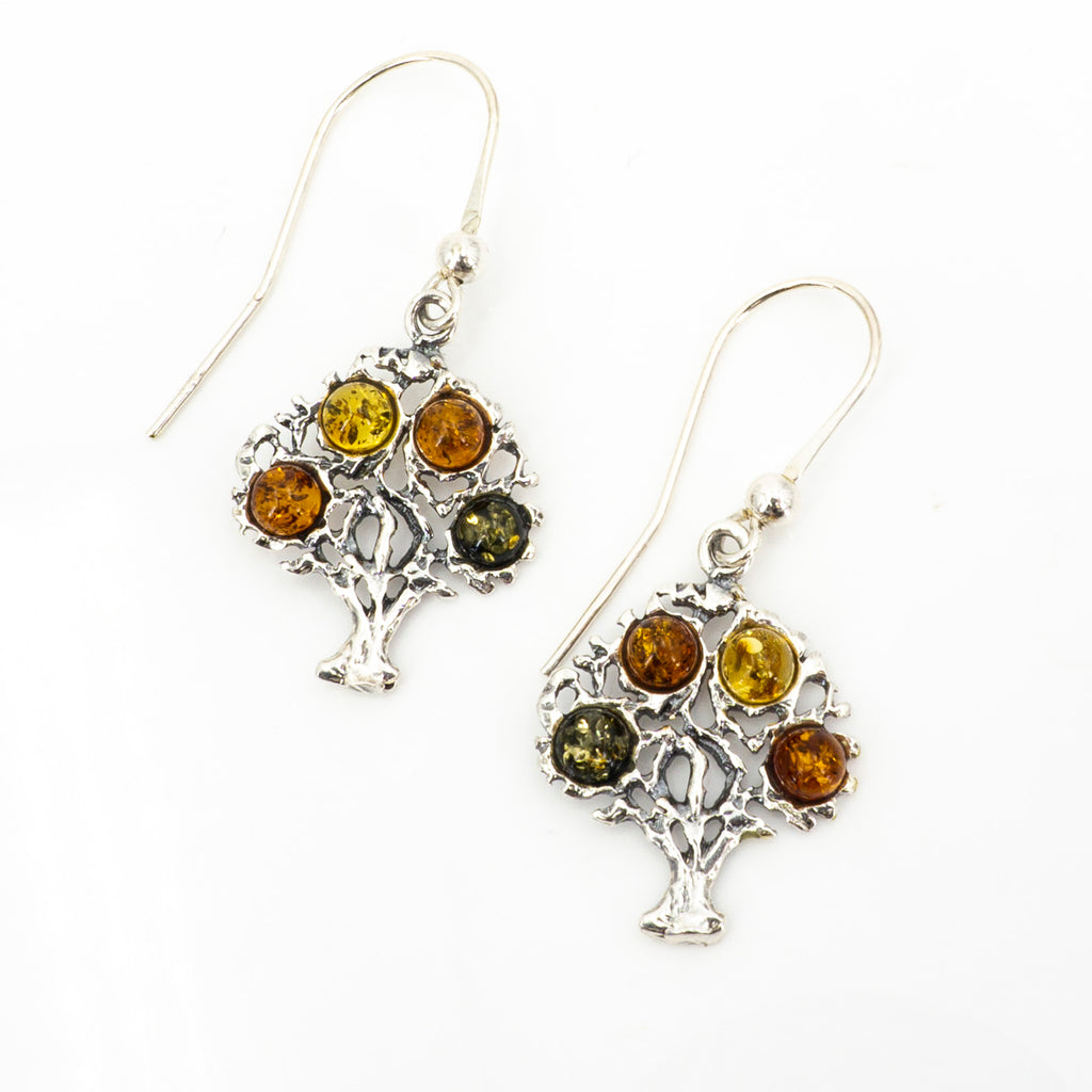 S/S Tree of Life Earring W Amber