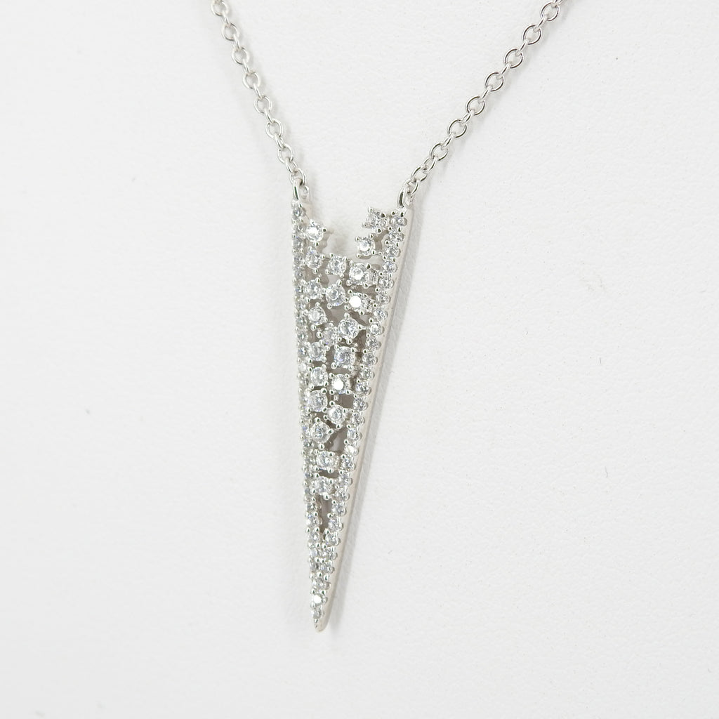 Sterling Silver CZ Triangle Necklace