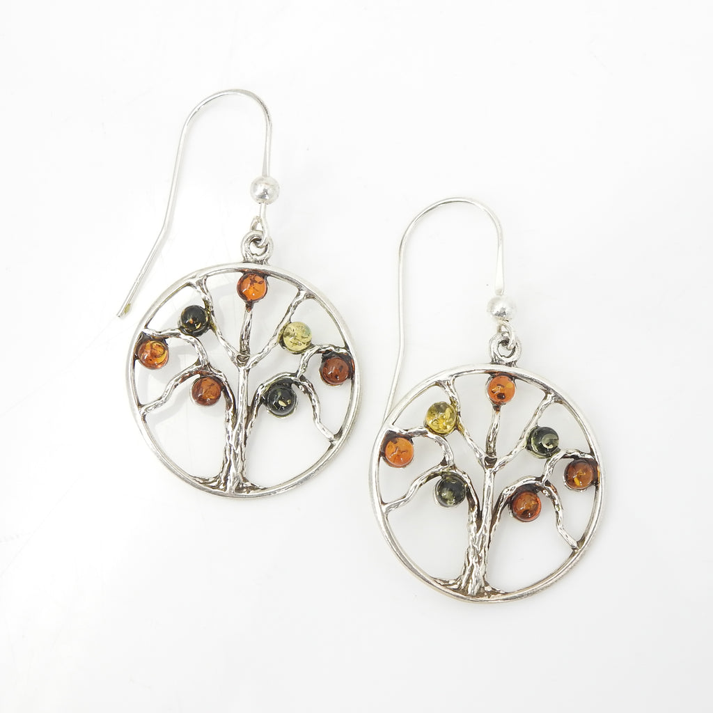 Sterling Silver Tree of Life Amber Earrings
