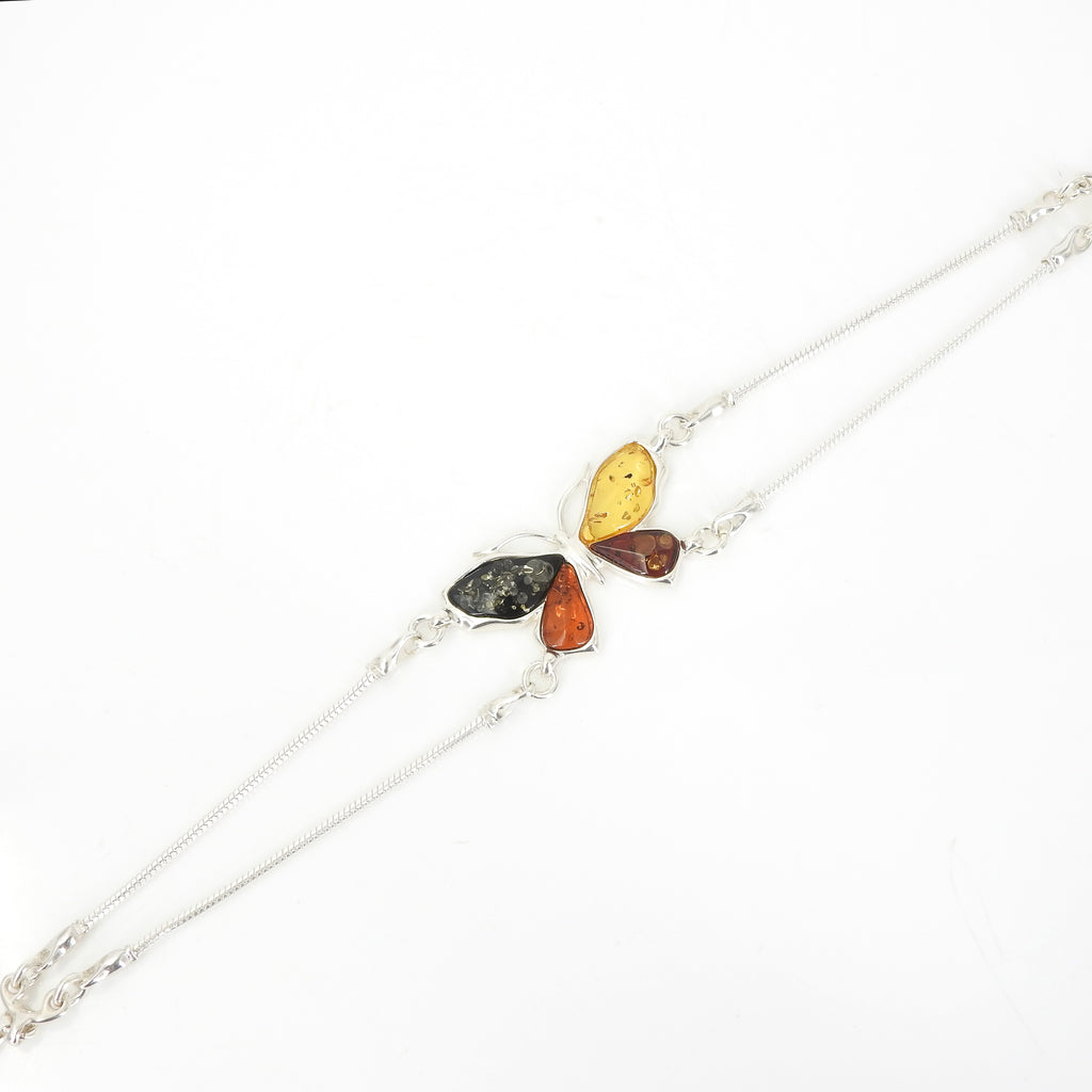 Sterling Silver Mixed Amber Butterfly Bracelet