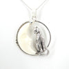 Sterling Silver Cat & Moon Pendant
