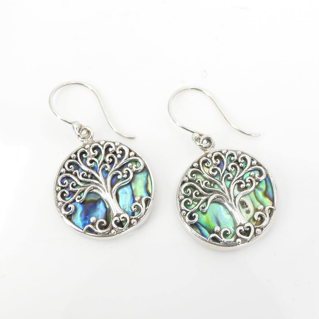 S/S Tree of Life W Abalone Earrings