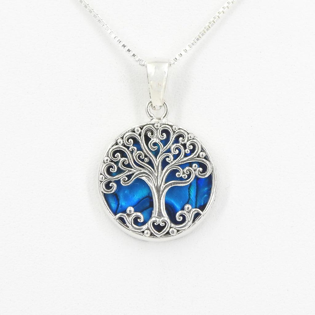 Sterling Silver Tree of Life w/ Blue Abalone Pendant