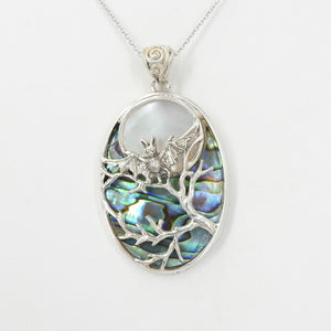 Sterling Silver Bat W Abalone and Mother of Pearl Pendant