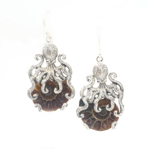 S/S Octopus W Ammonite Earrings