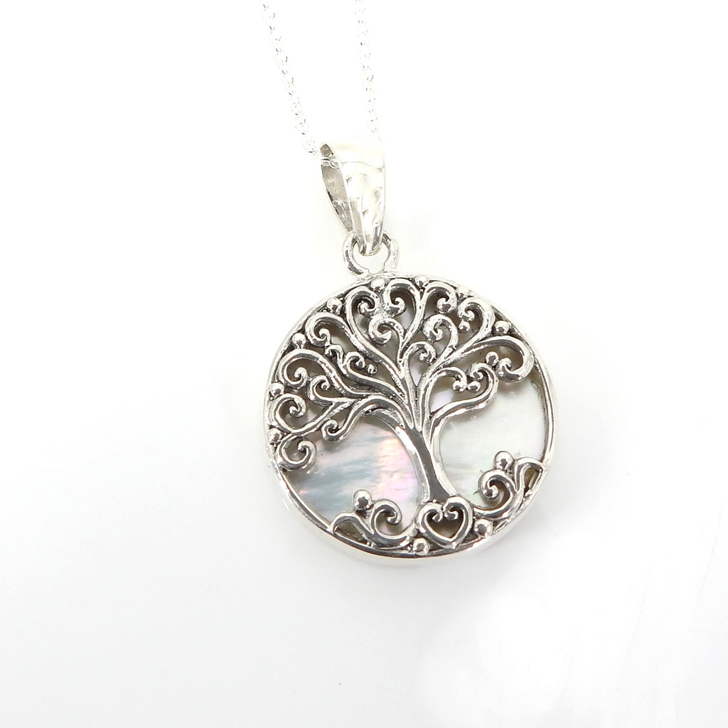 Sterling Silver Small Tree of Life Pendant w/ Mother of Pearl