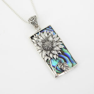 Large Sterling Silver Sunflower w/ Abalone Pendant