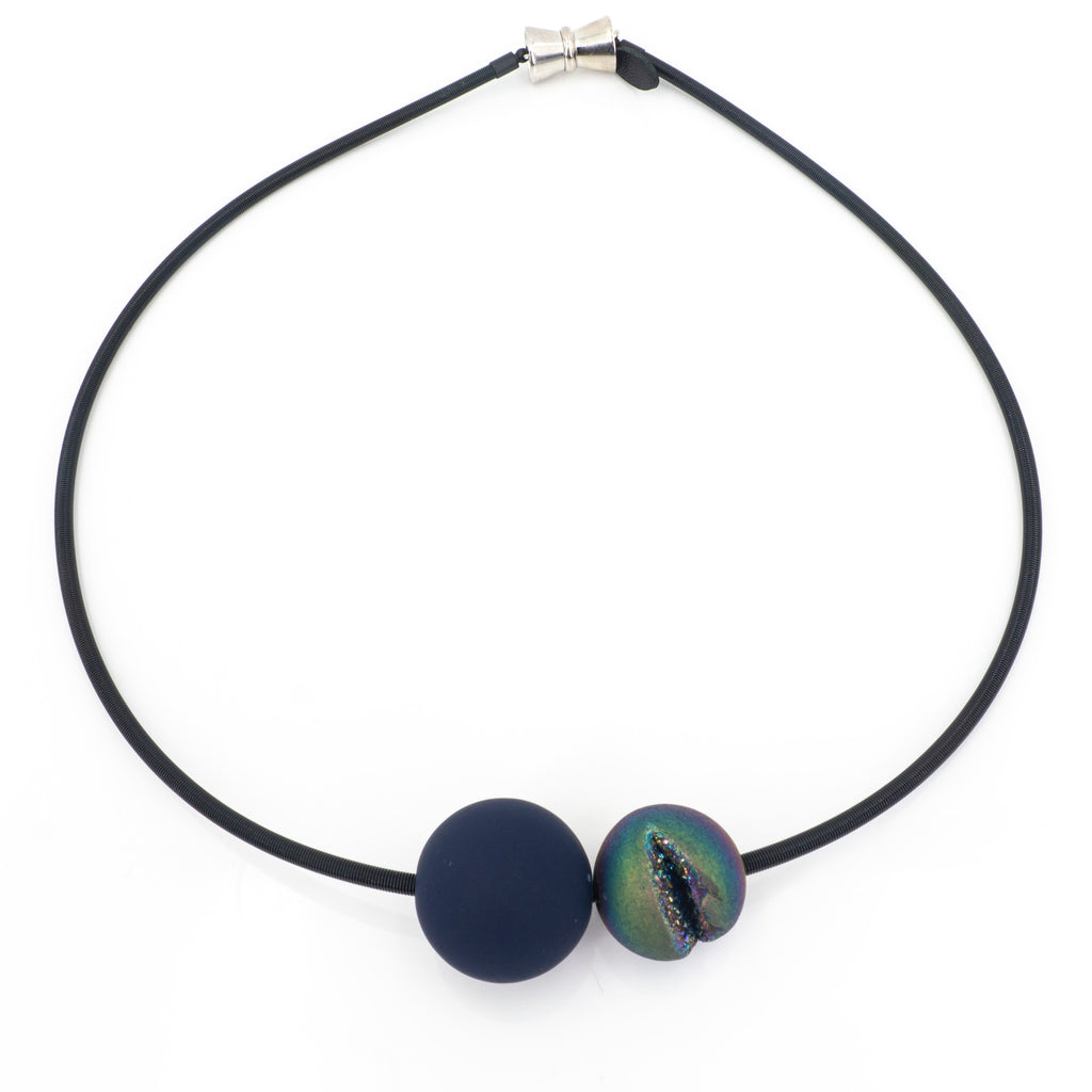Natural Druzy Piano Wire Steel Necklace