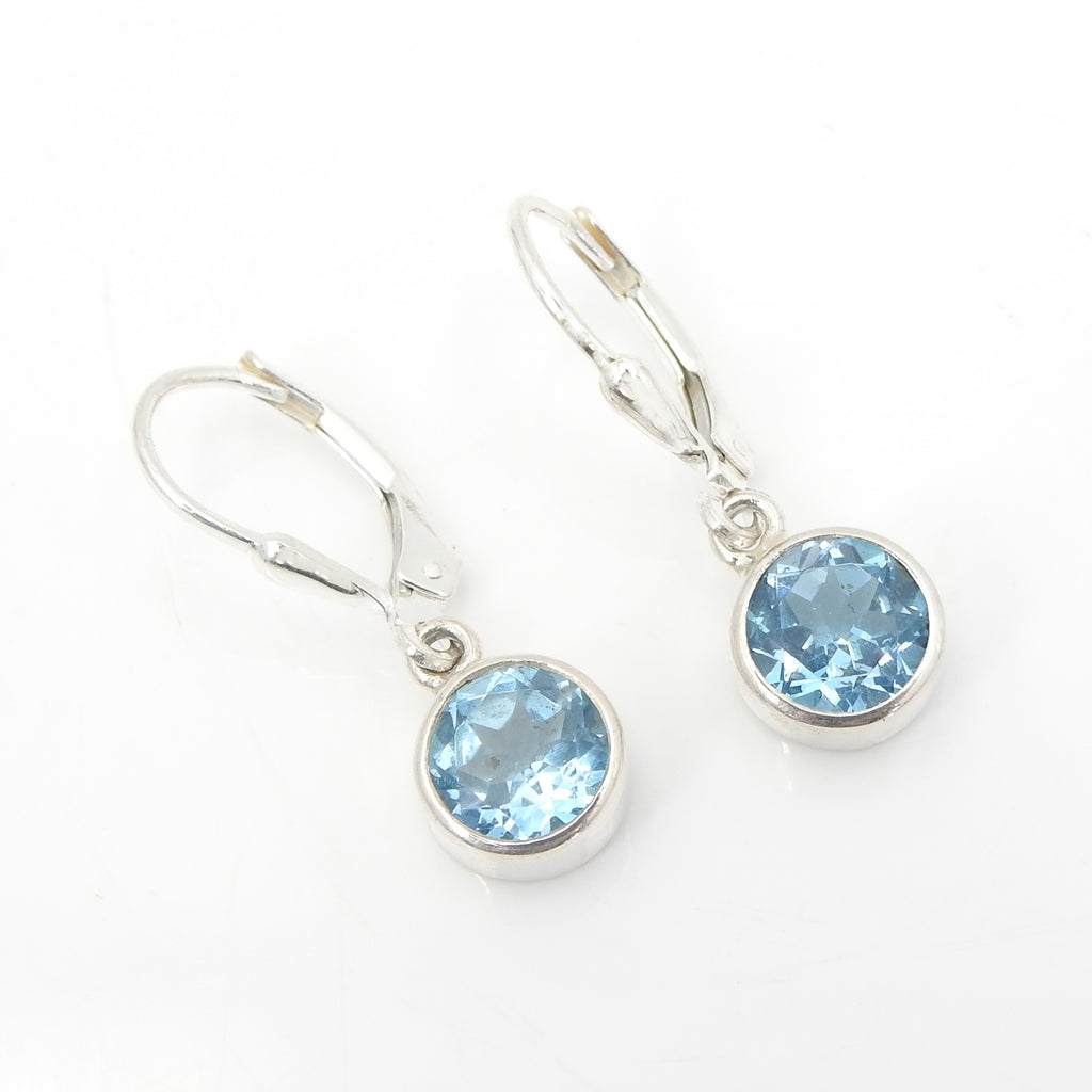 Sterling Silver Faceted Blue Topaz Earrings
