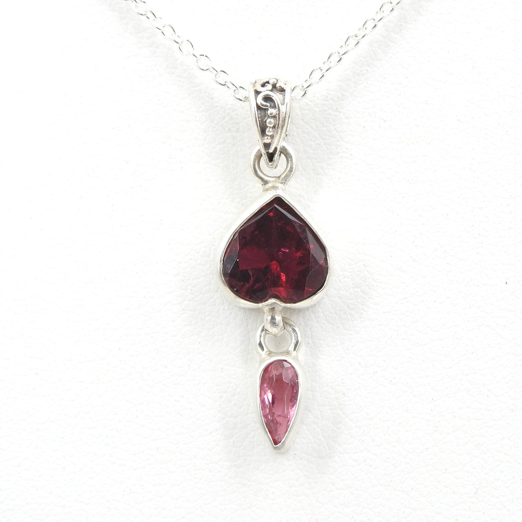 Sterling Silver Pink Tourmaline Heart Pendant