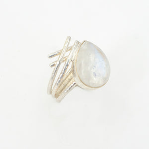 S/S Rainbow Moonstone Ring SZ 9