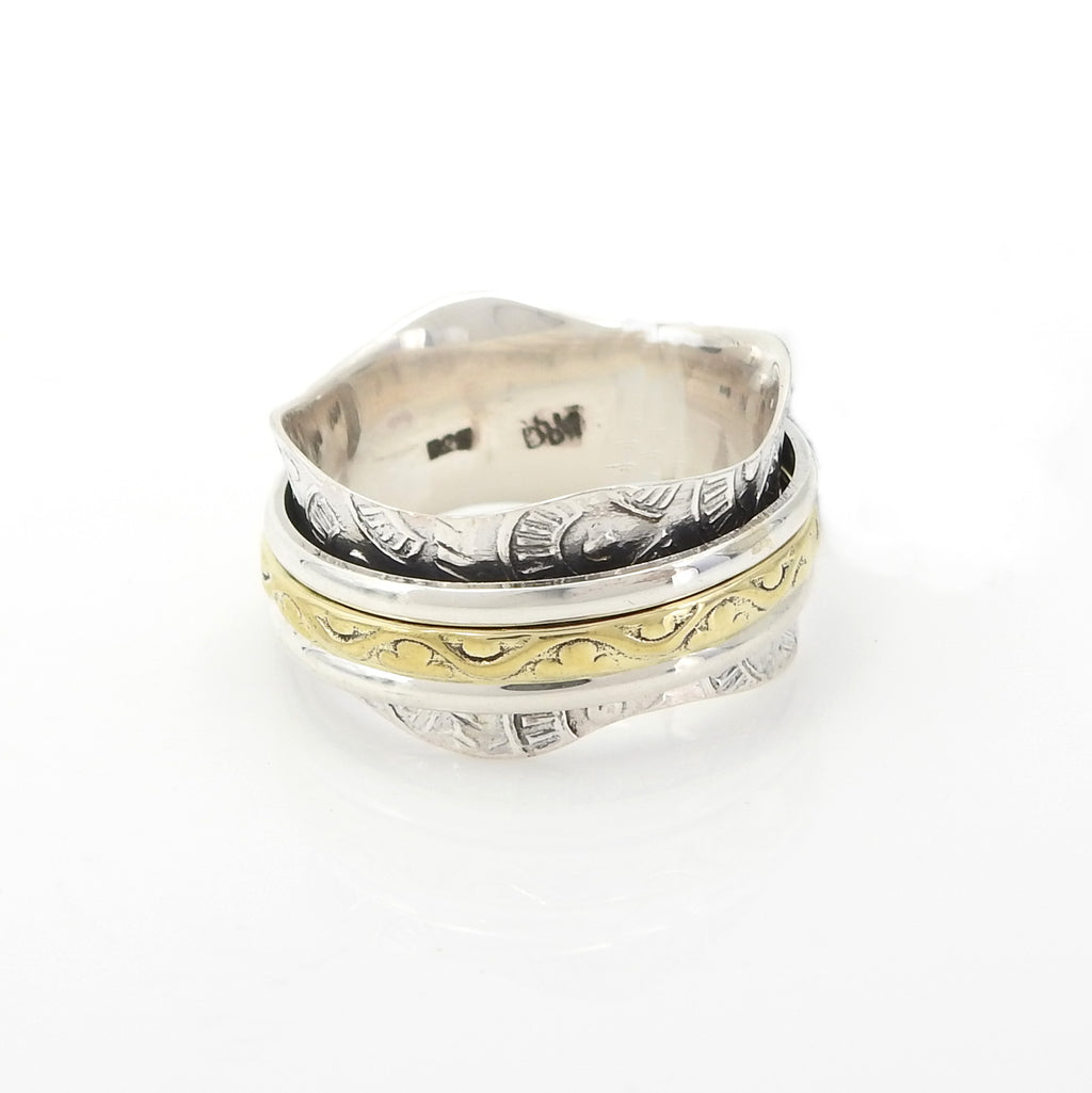 Sterling Silver Two Tone Spinner Ring SZ 7