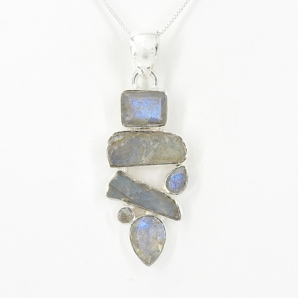 S/S Faceted & Rough Labradorite Pendant