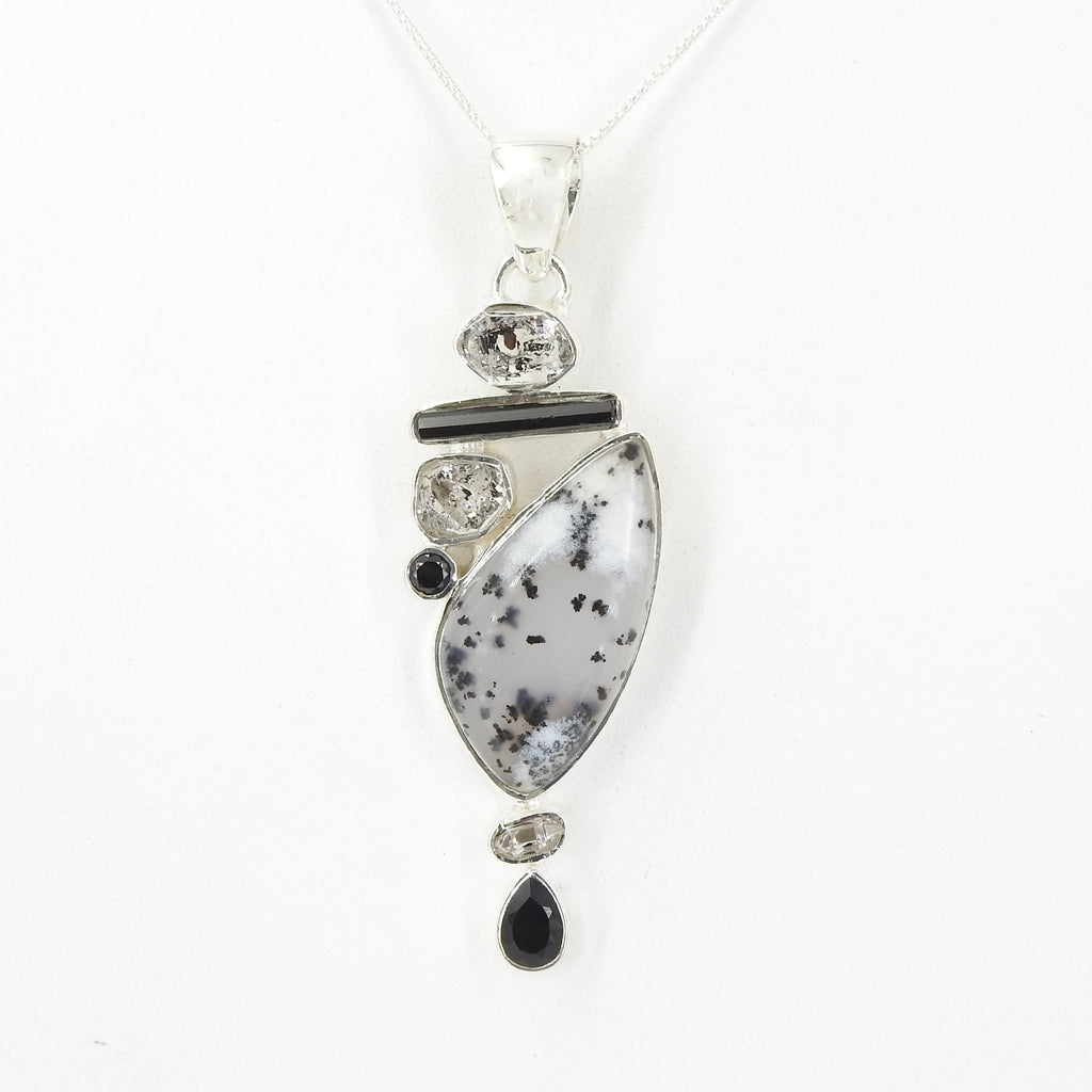 Sterling Silver Dendritic Agate Herkimer Diamond & Onyx Pendant