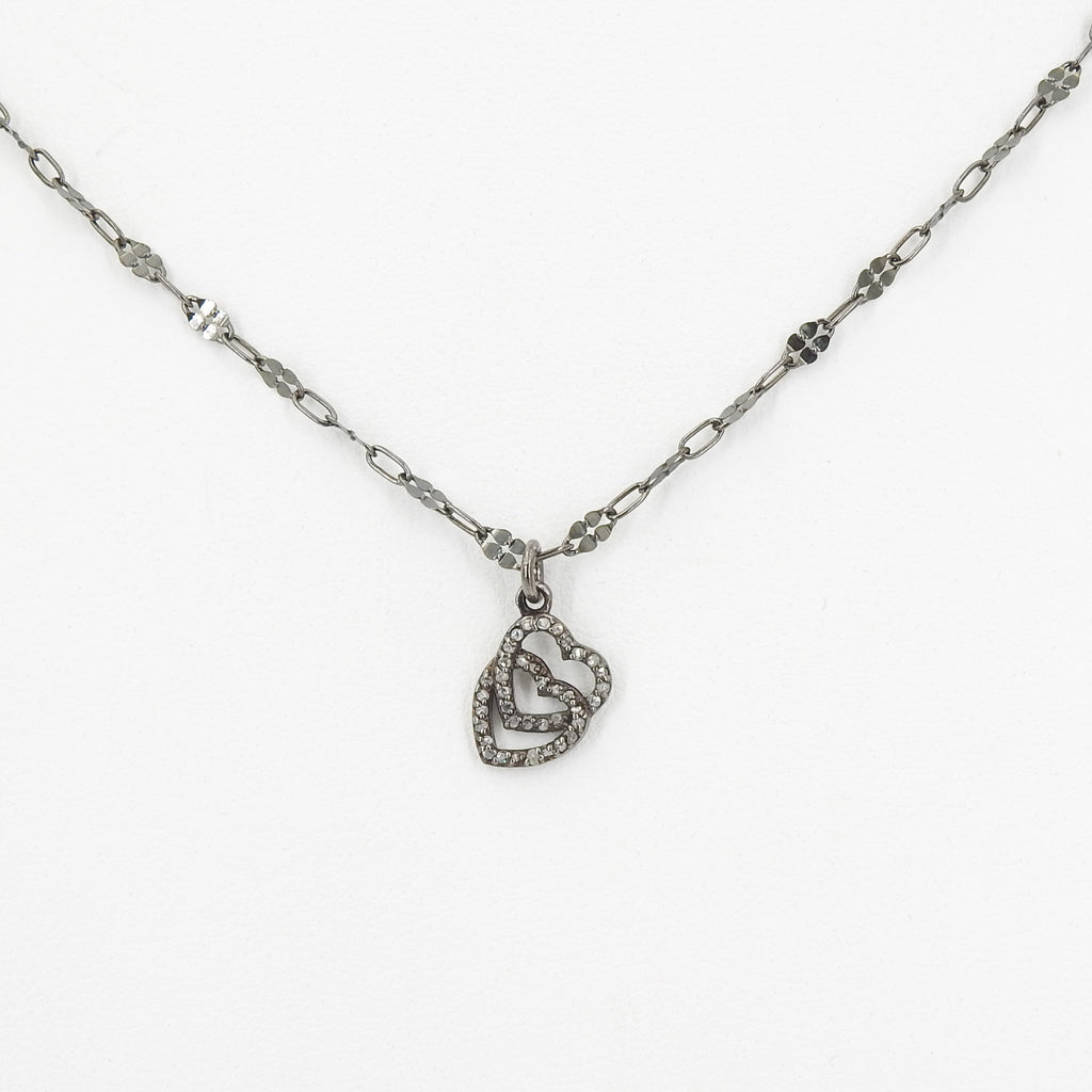 Sterling Silver Double Heart w/ Diamond Accents Necklace