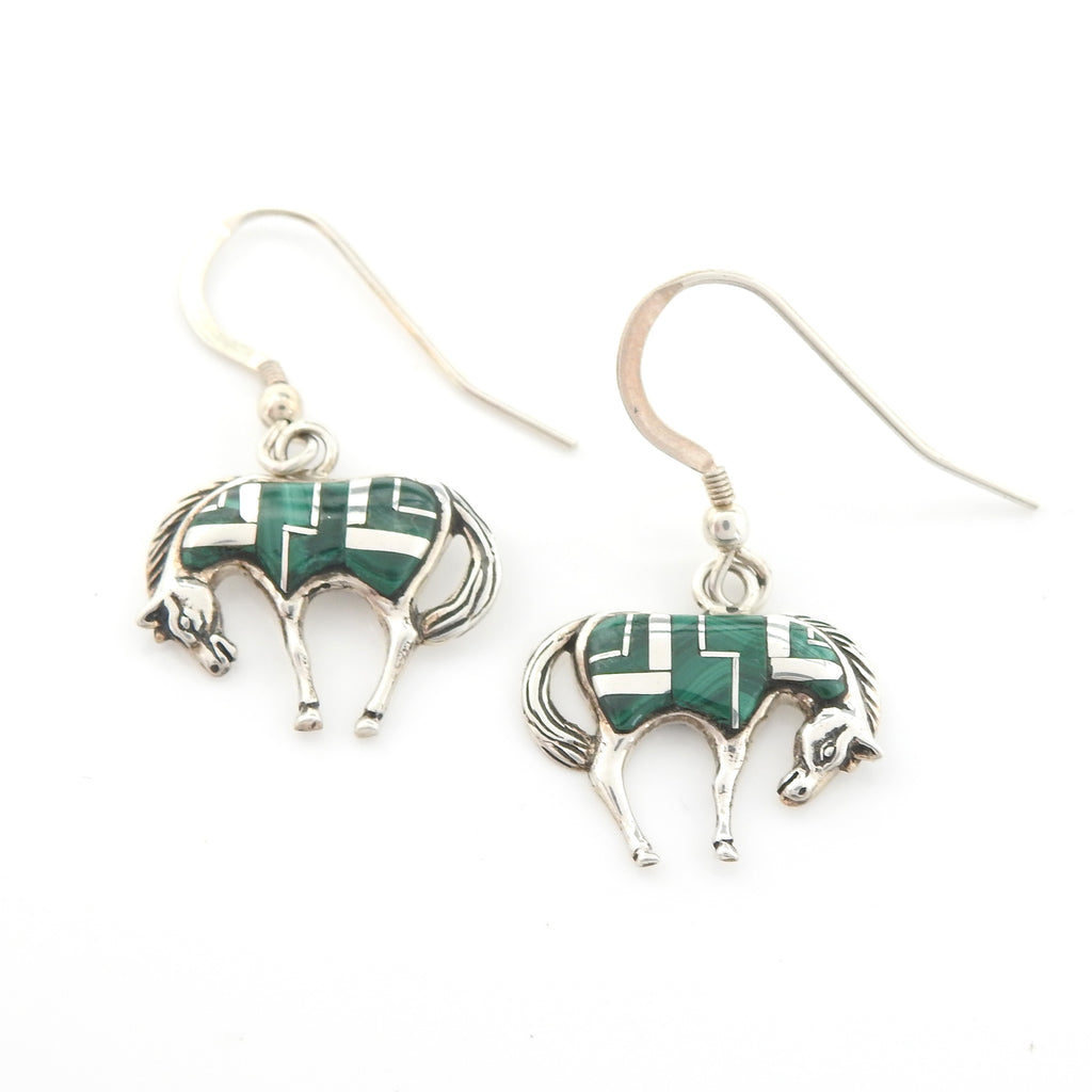 Sterling Silver Malachite Inlay Horse Earring