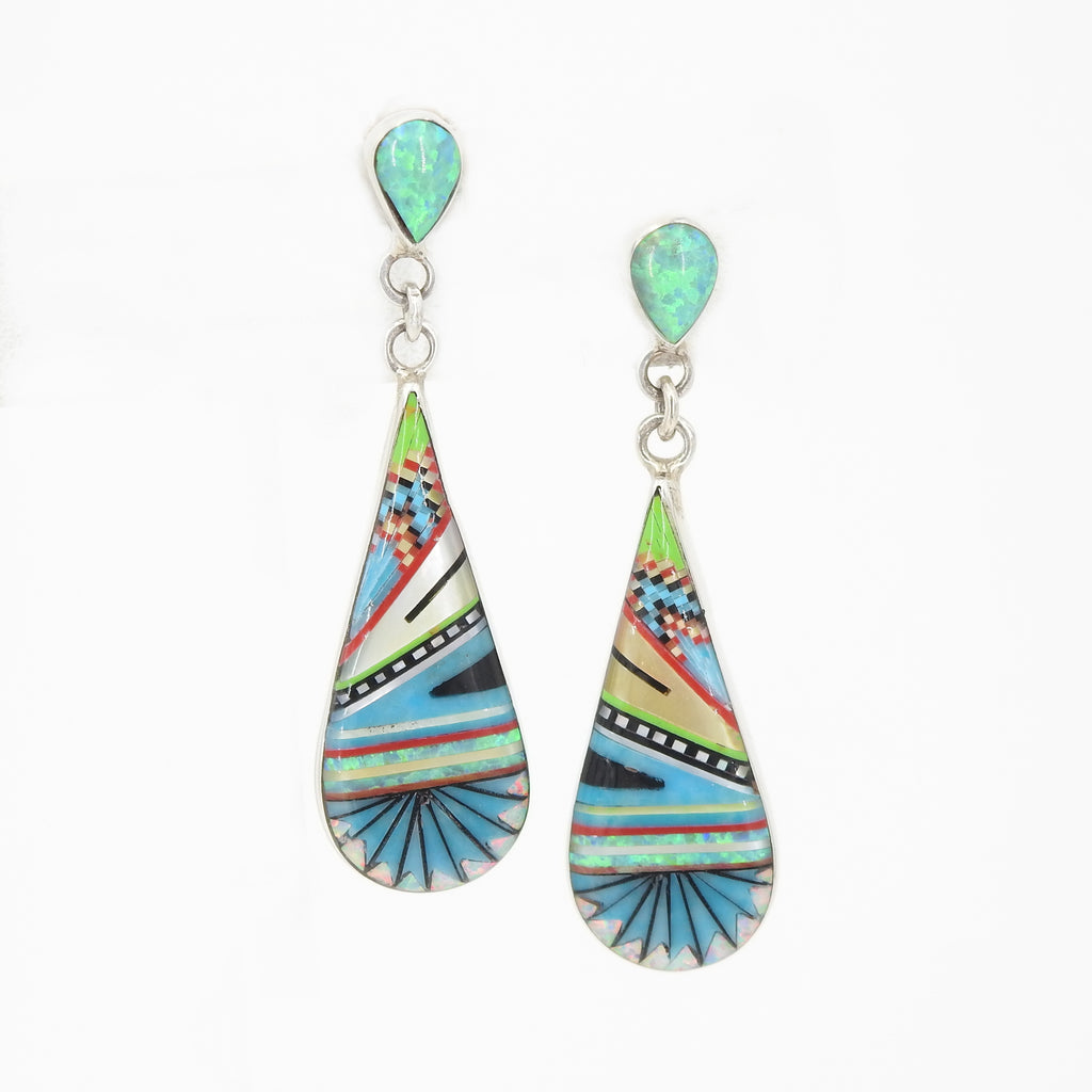 Sterling Silver Turquoise & Opal Inlay Earrings