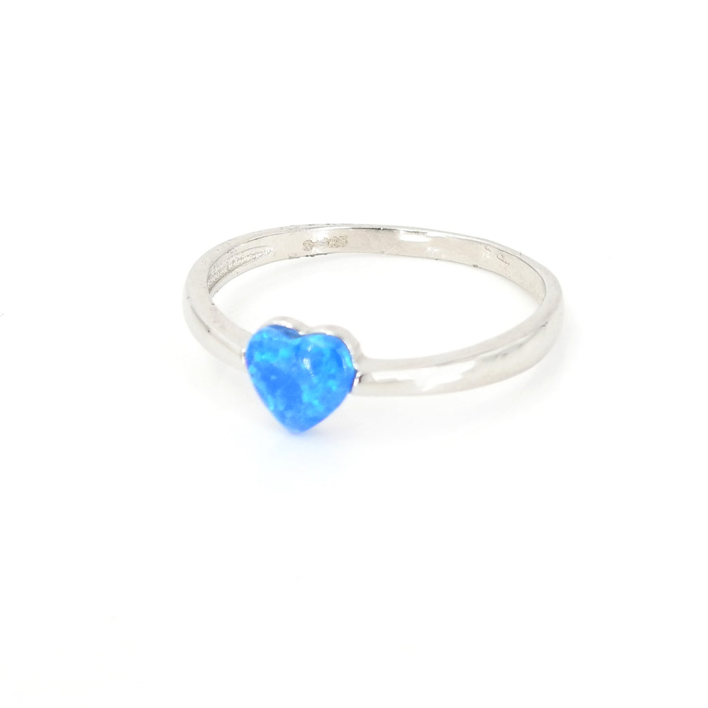 Sterling Silver Created Opal Heart Ring