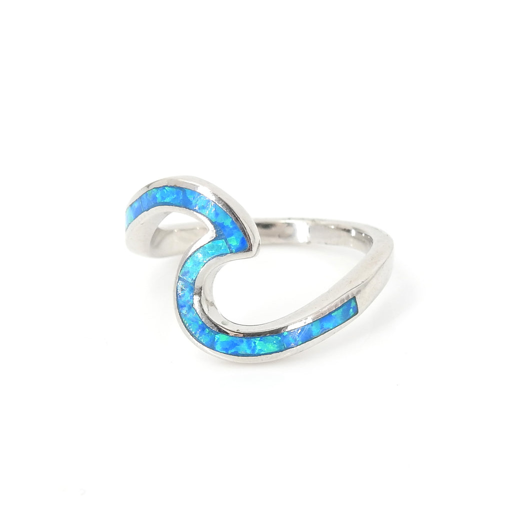 Sterling Silver Created Opal Wave Ring SZ 8