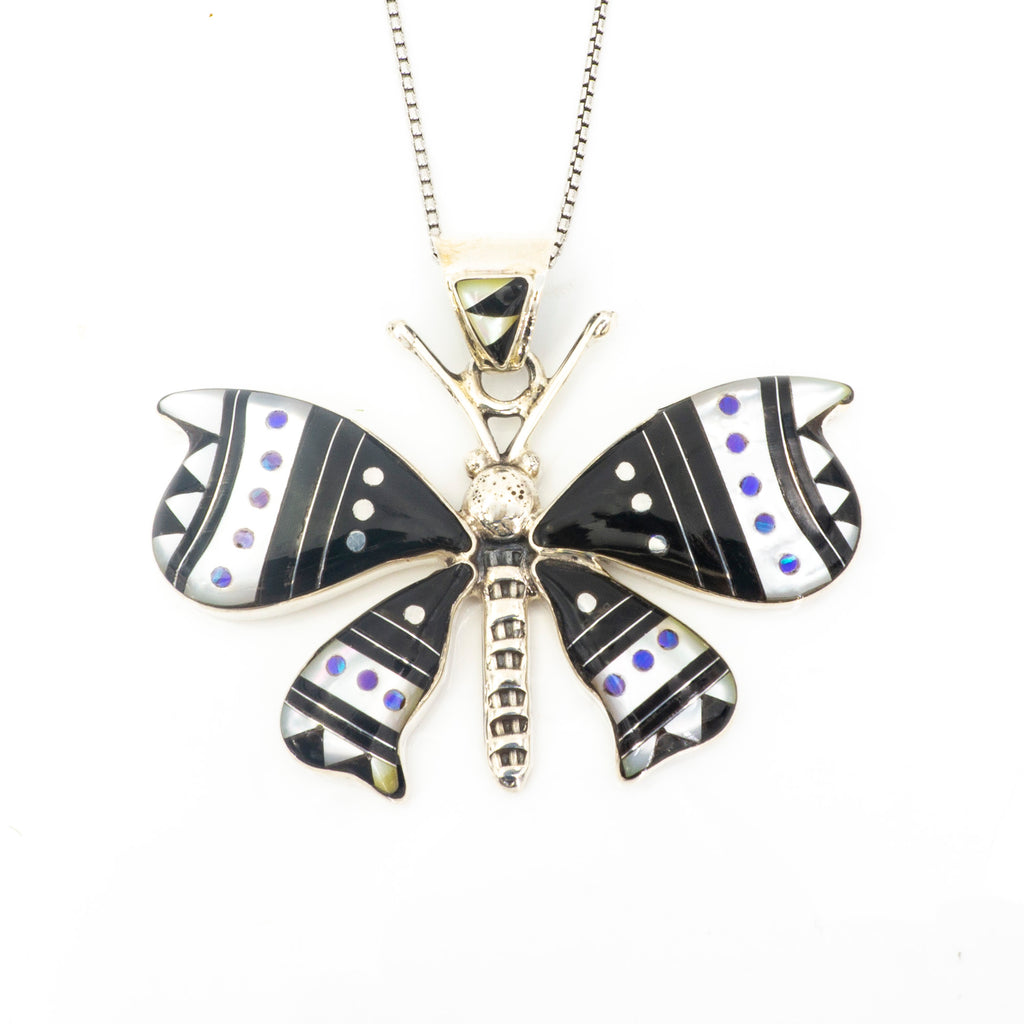 S/S Inlay Dragonfly Pendant