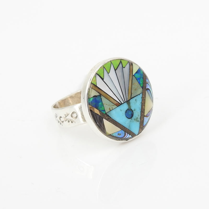 Sterling Silver Inlay Ring Size 7.75