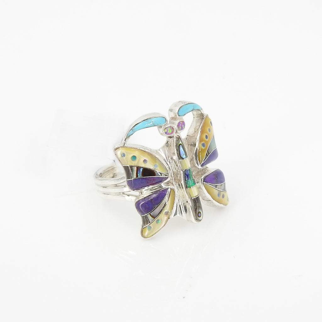 Sterling Silver Inlay Butterfly Ring Size 8.5