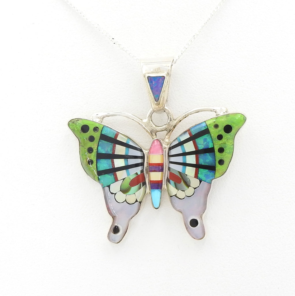 Sterling Silver Butterfly Inlay Pendant