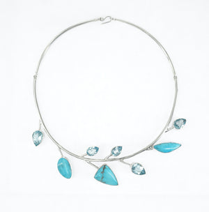 S/S Turquoise Blue Topaz Leaf Necklace