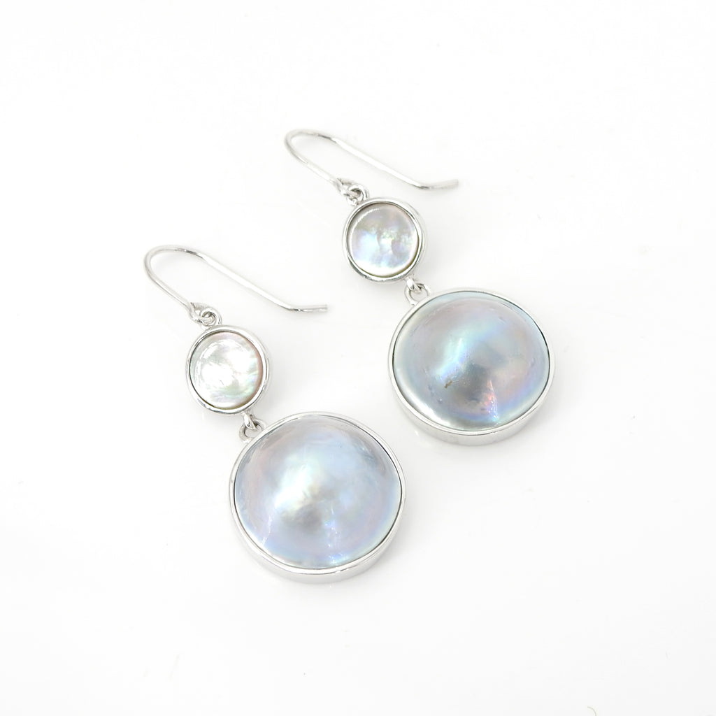 Sterling Silver Blister Pearl Shell Earrings