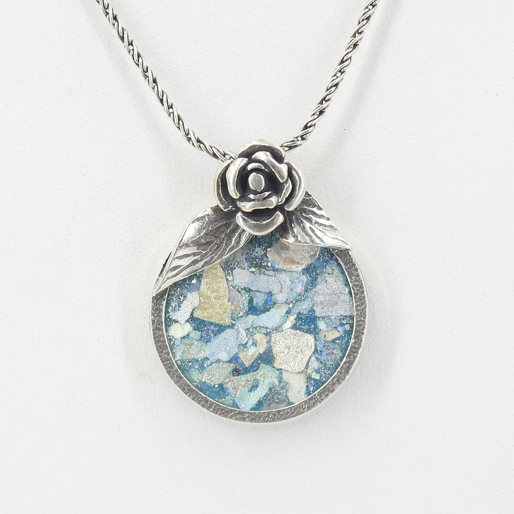 Sterling Silver Roman Glass Pendant With Rose