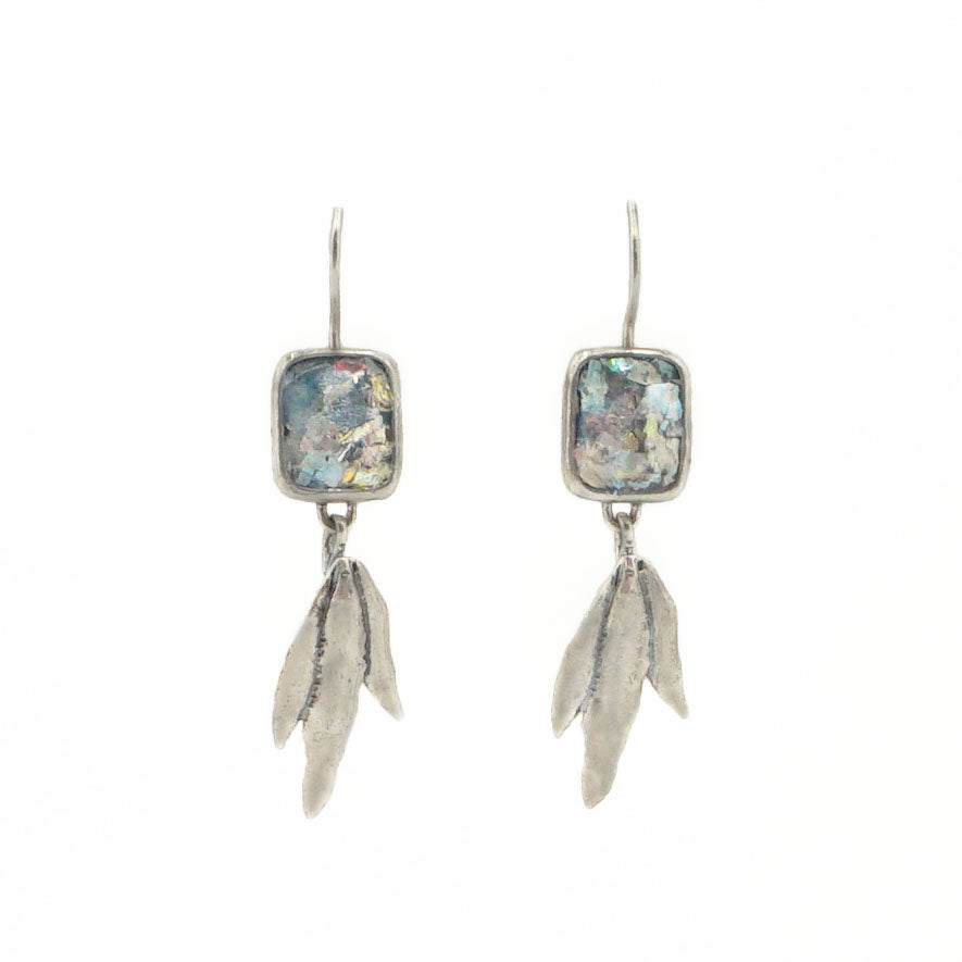 Roman Glass Feather Earrings