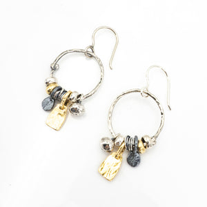 S/S Three Tone Hoop Earring W Charms