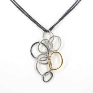 Sterling Silver Three Tone Abstract Necklace