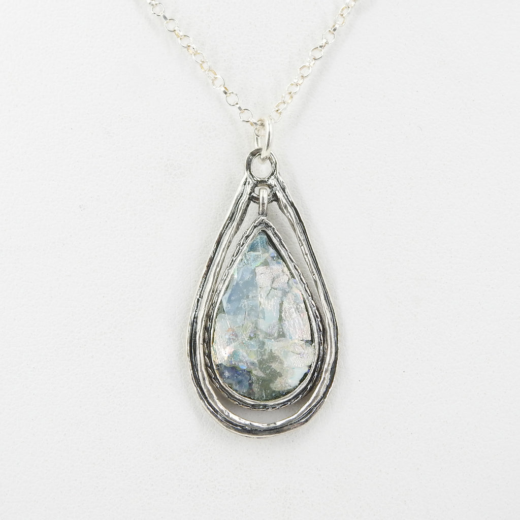 Sterling Silver Roman Glass Pendant