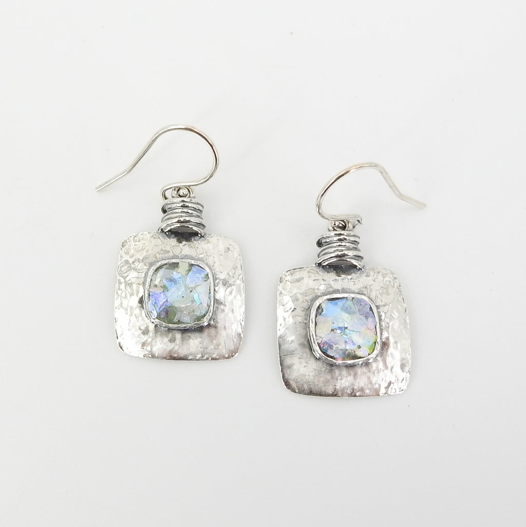 Sterling Silver Roman Glass Square Earrings