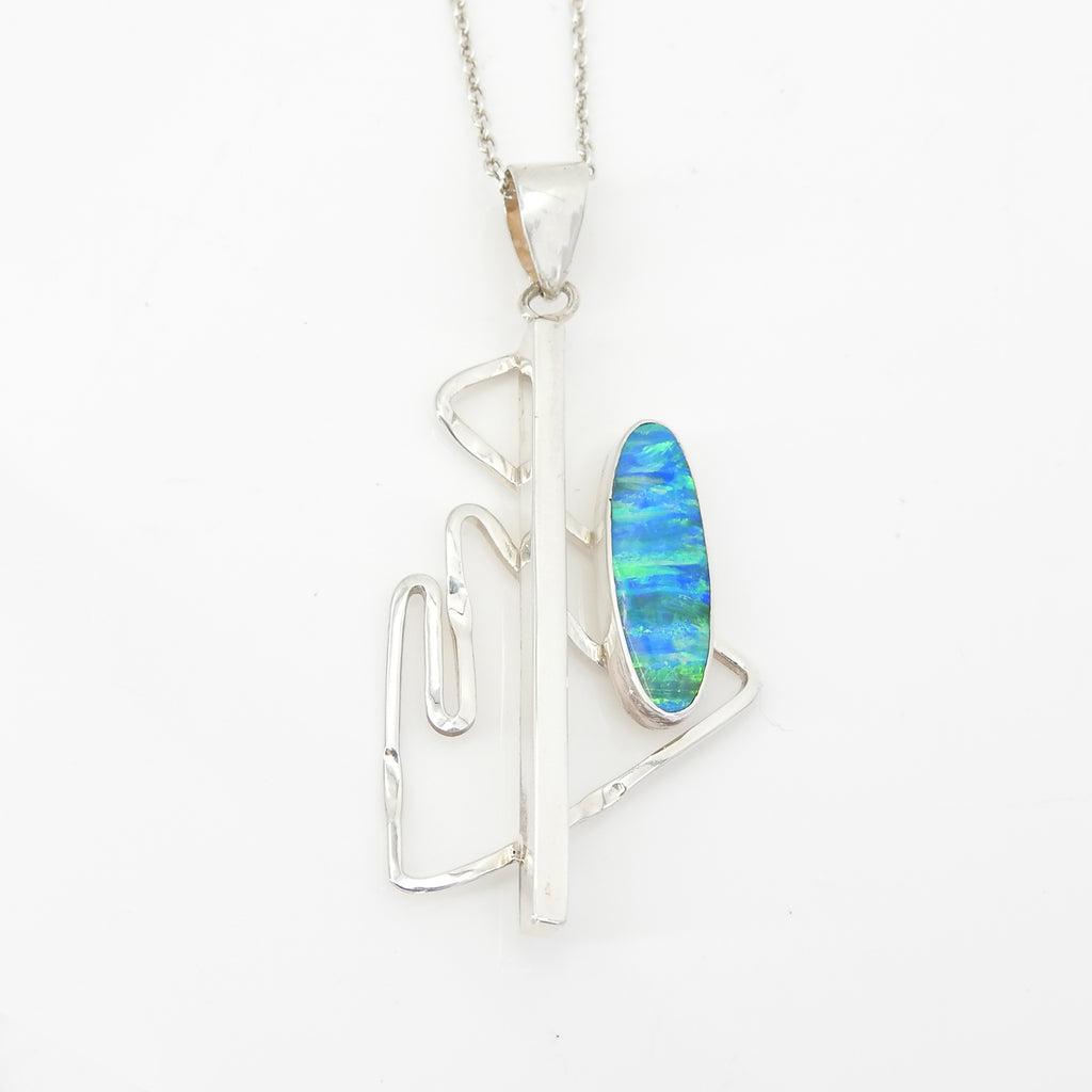 S/S Lab Created Opal Pendant