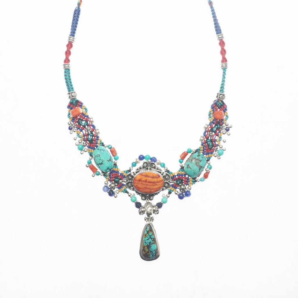 Turquoise & Coral Knotwork Necklace