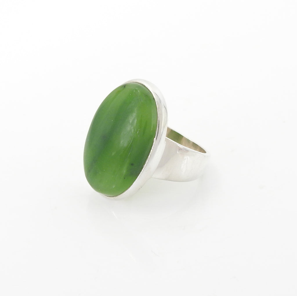Sterling Silver Jade Ring SZ 9