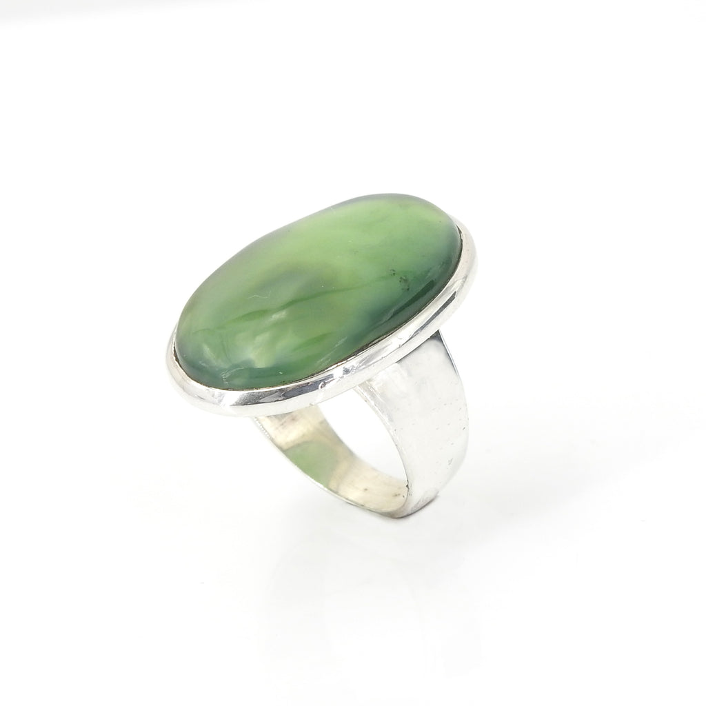 Sterling Silver Jade Ring SZ 8